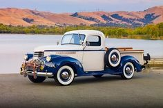 We can't tell what's your beautiful- this 1946 Chevy or the scenery.