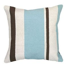 Pale Blue & Chocolate Striped Pillow - Ottomans & Benches - Accent Furniture & Office - Furniture - PoshLiving