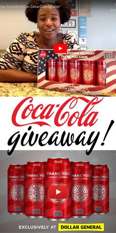 "Enter for a chance to WIN a special edition can PLUS challenge coin from Coca-Cola and the USO! Then, head to your nearest Dollar General store and grab a few cans of their NEW 2019 limited edition, military ""thank you"" cans so you can share a Coke with a Service Member, Veteran, Military Family, American Hero and a Military Spouse plus help support the USO at the same time!"