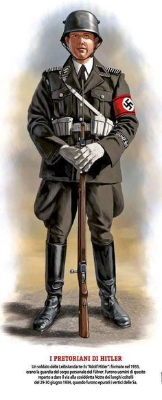 """The Pretorian Guard of Adolf Hitler"", as stated on an Italian information graphic of a German SS Allgemeine Honor Guard."
