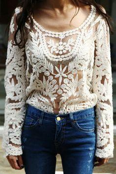 Crochet Mesh Top (CREAM) | modhaus