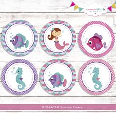 Cupcake Toppers Purple Mermaid Party Theme- Little Mermaid-Instantly Downloadable-Customize without any extra value de VeroVeroParties en Etsy
