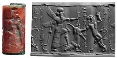 Cylinder seal image  A Winged Hero Contesting with a Lion for a Bull Cylinder seal and impression Mesopotamia, Neo-Babylonian period (ca.1000–539B.C.) Carnelian