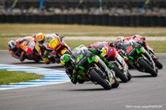 Pol Espargaro leading the battle for fourth at Phillip Island.  Of the 6 riders pictured, only two finished the race. Two were taken out of the race by other riders, and two crashed on their own.