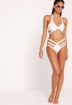 86c843f0ed Missguided - Strappy Bandage Plunge Bikini White Plunge Bikini
