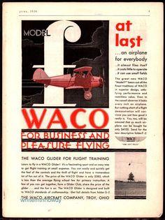 1930 WACO Model F Aircraft Plane Airplane AD Troy Ohio