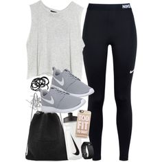 Outfit for the gym with Nike items by ferned on Polyvore featuring MINKPINK, NIKE, Kara, Fitbit, Casetify, H&M and Monki