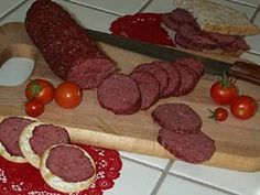 SALAMI MIX Simply mix one packet of our premium seasoning blend with cup of water, stir in two pounds of ground meat of your choice (beef, poultry or game meat), shape into logs and bake for one hour at A little spicier with a hint of garlic! Summer Sausage, Ground Meat, Sausage Breakfast, Seasoning Mixes, Logs, Poultry, Spicy, Garlic, Beef