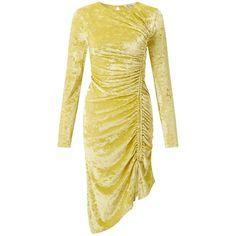 Miss Selfridge Chartreusse Velvet Shift Dress (£41) ❤ liked on Polyvore featuring dresses, chartreuse, velvet shift dress, drawstring dresses, ruched velvet dress, beige shift dress and shirring dress