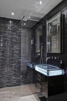 A New Trend Bathroom Design For Your Inspiration In 2015 : Glass Sink With Beautiful Led Lighting Black Interior With Mini Brick And Wood Floating Vanity Sink And Mirror Glass Shower Dark Bathrooms, Small Bathroom, Target Bathroom, Rental Bathroom, White Bathroom, Modern Bathroom Design, Bathroom Interior Design, Interior Exterior, Bathroom Designs