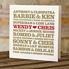 Personalised Couples Card £8