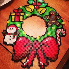 Christmas wreath perler beads by Christina George-Heeney
