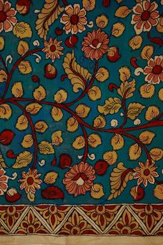 Kalamkari hand painted silk and cotton available in floral motifs. Kalamkari Fabric, Kalamkari Painting, Madhubani Painting, Fabric Painting, Phad Painting, Indian Aesthetic, Indian Folk Art, Beautiful Rangoli Designs, Indian Prints