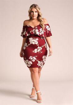 b2cd38b1e873 Plus Size Floral Layered Off Shoulder Bodycon Dress Plus Size Dresses