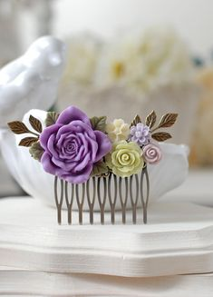 Green Purple Flowers Hair Comb. Lilac Lavender Rose Apple Green Floral Bridal Hair Accessory,  Green and Purple Wedding Hair Comb