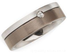 6mm Titanium, Diamond and Platinum Ring. Titanium & Diamond Wedding Rings.