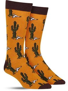 Imagine a dry, cracked wasteland dotted by only the occasional spiky growth. We're not talking about your feet — we're talking about these fun desert cactus socks! Because they're made from bamboo fib Fall Socks, Cactus Socks, Bamboo Socks, Fun Deserts, Desert Cactus, Novelty Socks, Dress Socks, Stylish Dresses, Color Patterns