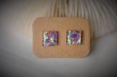 RESIN Earring Gem SQUARE Earring Purple / Gold Snowflake