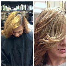 Before and after color transformation (front view) by Hair Trendz Stylist Marlaine