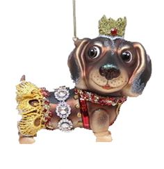 December Diamonds Blown Glass Ornament - Dachshund
