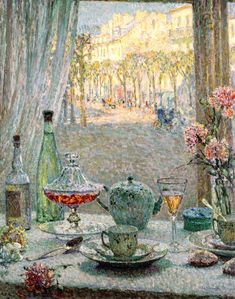 The Athenaeum - A Table by the Window, Reflections (Henri Le Sidaner - 1900)