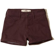 Hollister High-Rise Sateen Short-Shorts ($40) ❤ liked on Polyvore featuring shorts, burgundy, burgundy shorts, stretchy high waisted shorts, hot shorts, mini shorts and hot short shorts
