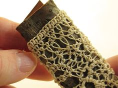 Freeform looping on willow bark by donnakallnerfiberart on etsy. https://www.etsy.com/listing/213686935/eco-gift-statement-brooch-knotless