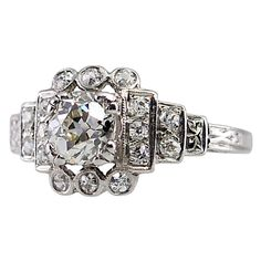 Art Deco Diamond Ring   From a unique collection of vintage bridal rings at https://www.1stdibs.com/jewelry/rings/bridal-rings/
