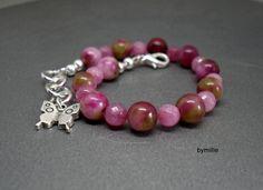 Pink jade beaded bracelet, Pink bracelet, Butterfly bracelet, Charm bracelet £17.00