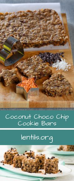 FUN FACT: Did you know lentils are a low-fat source of protein, are a high source of fibre, and contain important vitamins and minerals like iron, potassium, and folate?    Try this fun spin Coconut Oatmeal Chocolate Chip Cookie Bar recipe to add a healthy spin on a classic cookie favorite! #LoveALentil #ad