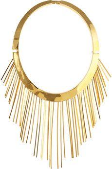 gold fringe collar necklace