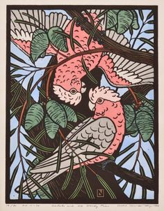 Leslie Vander Sluys - Galahs and Woody Pear 1984 Woodcut x 30 cm Linocut Prints, Art Prints, Woodcut Art, Australian Birds, Australian Tattoo, Australian Plants, Bird Artwork, Muse Art, Bird Illustration