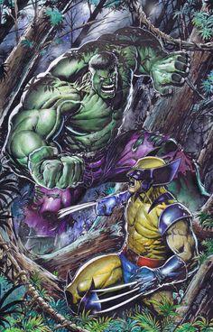Wolverine vs Hulk by Emil Cabaltierra