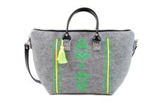 Large bag with hand made green ornaments