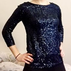 HP!! J. Crew | Blue Sequined 3/4 Top J Crew navy blue sequined 3/4 sleeve top. Soft inside! Worn ONCE. XS but fits a small/ medium as it's very stretchy! Could fit a XS, S or even M!                                                                Host Pick 3.8.16 Best in Tops Party! J. Crew Tops