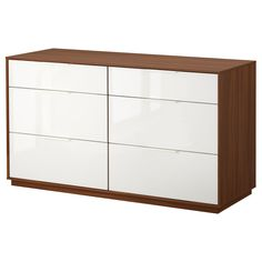 The Perfect base for an affordable changing table.  NYVOLL 6-drawer dresser - medium brown/white - IKEA