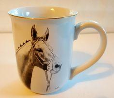 Mug OTAGIRI Japan / Horse Head / Designer Darren J. Cook / Horse Coffee Mug / Stoneware Vintage / Hand Painted / Quite Rare by BeautyFromThePast on Etsy