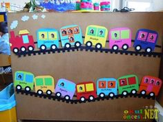 all aboard the class train! kiddos loved it. Train Bulletin Boards, Birthday Bulletin Boards, Classroom Birthday, Birthday Wall, Birthday Board, Preschool Classroom, Classroom Decor, Train Nursery, Diy And Crafts