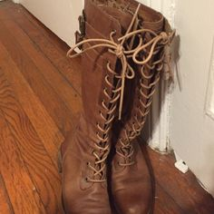 Brown lace-up Sofft Boots Gently loved lace up Sofft boots. Re-posh. Purchased but a little too tight in the calf. Adjustable with laces. Recently cleaned and waterproofed. Sofft Shoes Winter & Rain Boots