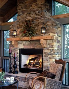Pin for Later: Farmhouse fireplace look. Fireplace using Daco's Real Cut Stone. Fireplace using Daco's Real Cut Stone. Farmhouse Fireplace Mantels, Cabin Fireplace, Fireplace Remodel, Fireplace Design, Fireplace Ideas, Stone Veneer Fireplace, Mantle Ideas, Stone Fireplace Decor, Airstone Fireplace