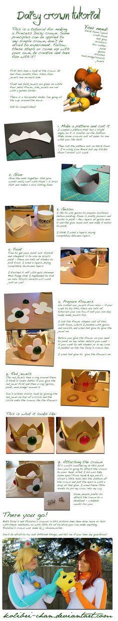 Princess Daisy crown tutorial by *kolibri-chan on deviantART