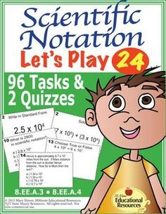 Do you wish for your students to really grasp scientific notation?  Then this is a great product for your students to review and prep for tests on scientific notation!  Whether you use the task cards in stations, centers, as starters, or for students to work on individually, they cover converting large and small numbers to scientific notation along with operations with scientific notation.