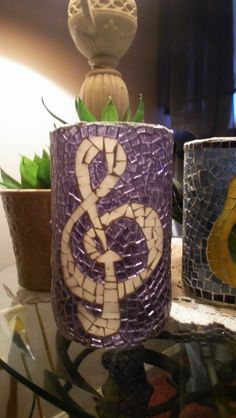 Stained Glass Mosaic Candle Holder Treble Clef - That's KooL(: