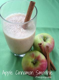 Apple Cinnamon Smoothie #VeggieStaples one apple, washed, peeled and diced (for easy blending) 1 cup almond milk (OR coconut milk) 1/2 cup water 1 teaspoon almond butter 1 teaspoon cinnamon 1 teaspoon honey ice to taste