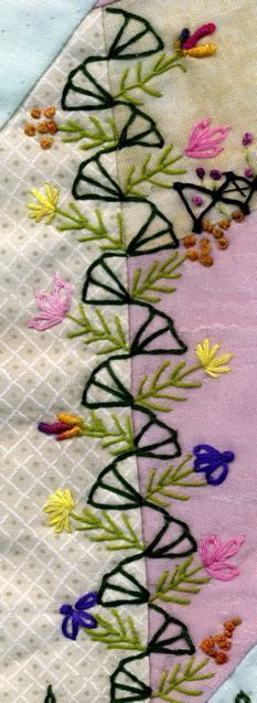 Wonderful Ribbon Embroidery Flowers by Hand Ideas. Enchanting Ribbon Embroidery Flowers by Hand Ideas. Hand Embroidery Stitches, Silk Ribbon Embroidery, Hand Embroidery Designs, Embroidery Applique, Embroidery Sampler, Embroidery Ideas, Crazy Quilt Stitches, Crazy Quilt Blocks, Crazy Quilting