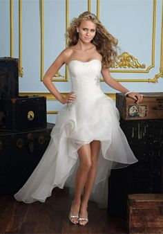 Sheath/Column V-neck Spaghetti Strap Criss-Cross Back Evening Gowns Hi Lo Wedding Dress, Mini Wedding Dresses, Mori Lee Wedding Dress, Wedding Dress Organza, Wedding Dress Trends, Bridal Dresses, Strapless Dress Formal, Wedding Gowns, Wedding Ideas