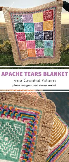 Apache Tears Ideas and Video Tutorial Apache Tears Inspirations. Simple design and a burst of color is one amazing recipe for Apache Tears. kreative oma quadrate Apache Tears Ideas and Video Tutorial Crochet Home, Free Crochet, Crea Cuir, Apache Tears, Granny Square Projects, Manta Crochet, Crochet Pillow, Afghan Crochet Patterns, Crochet Afghans