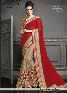 Classy Peach N Red Party Wear Saree