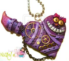 Mechanical Cheshire Cat by ~colourful-blossom on deviantART Polymer Clay Projects, Polymer Clay Creations, Polymer Clay Crafts, Diy Clay, Polymer Clay Steampunk, Steampunk Cat, Chesire Cat, Metal Clay Jewelry, Alice In Wonderland Party