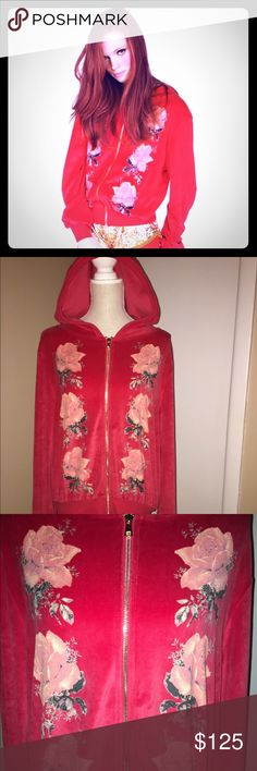 Pre-owned Wildfox Romantic Dream Capulet Hoodie M Pre-Owned Wildfox Couture White Label Romantic Dream Capulet Hoodie in red. Floral design on the front. Size Medium. 75% Cotton/ 25% Polyester. Has a velour feel. The flowers have some cracking, not noticeable unless you are looking for it (in my opinion). This is from a 2012 collection. Please view all photos and ask any questions you may have prior to purchasing ❤️    ❌Trades❌ Wildfox Tops Sweatshirts & Hoodies